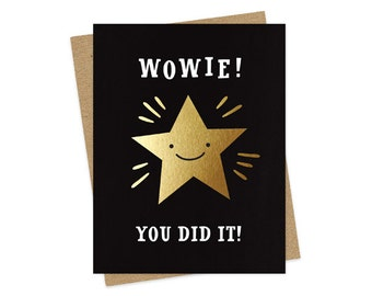 gold star wowie - foil stamped card - congrats card - congratulations card - graduation card - encouragement card - folded card - oc986