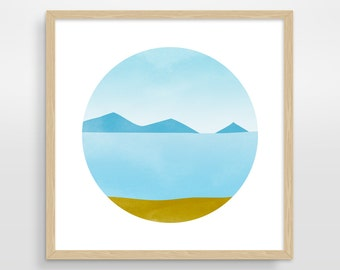 Coastal Wall Art, Large Wall Art, Ocean Art, Mid Century Modern Art, Scandinavian Print, Nordic Art, Minimalist Art, Abstract Landscape