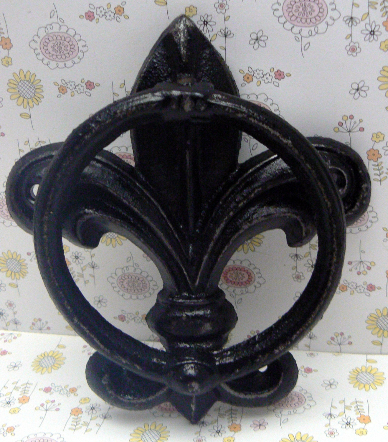 Fleur De Lis Cast Iron Shabby Chic Black FDL Welcome Door Knocker Home Decor