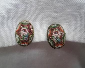 Vintage Micro Mosaic Earrings - Screw Back