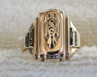 Vintage 1948 10K Gold High School Class Ring from Slinger WI-Size 6.5-5.1 grams-Not Scrap