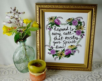 Hand-lettered Rumi quote with flowers