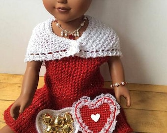 "Valentine Dress, Shawl, Jewelry and Candy Ensemble for 18"" Girl Doll"