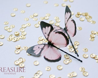 Hair pins with pink butterflies, set of two, soft pink butterflies, pink hair pins, pink butterfly jewelry, soft pink butterfly hair pins