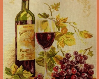 Wine Embroidered painting wine cross stitch wine lover gift red wine grapes cross stitch grapes counted cross stitch Completed embroidery
