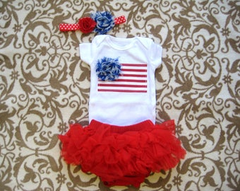 37b55056bd0 July 4th Baby Girl Bodysuit and matching Hair Bow Fourth of