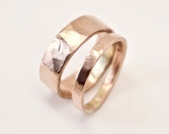 Rose Gold Wedding Band Set - Two Flat Hammered Rings - His and Hers - 9 Carat Gold  - Men's Ring - Women's Ring - Unisex