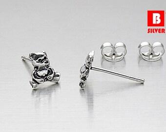 925 Sterling Silver Oxidized Earrings, Bear Earrings, Animal earrings, Stud Earrings (Code : K12B)