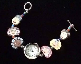 colorful face watch, teacher's  watch, colorful beaded watch, face watch, polymer clay jewelry, colorful watch