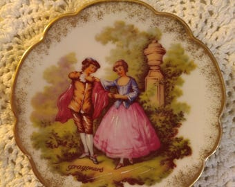 Small Limoges Porcelain Decorative Plate Made In France.