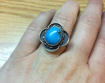Vintage turquoise ring signed