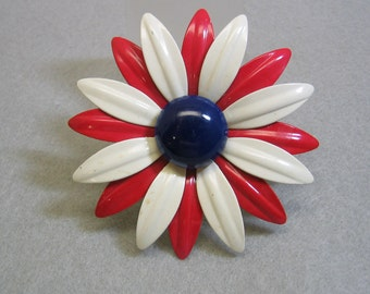 1960s  Daisy Flower Brooch or Pin, Red, White, and Blue, BIG