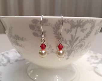 Cream and Red Swarovski drop earrings, handmade earwires, birthday, wedding, gift boxed, gift for her
