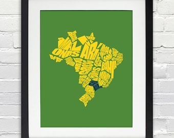 Brazil Word Map - A typographic word map of the States of Brazil, Estados, Travel Map, Typography Stencil Art, Custom Gift, Print or Canvas