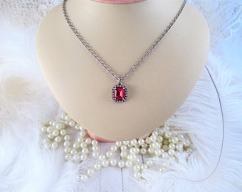 Swarovski crystal pendant necklace/Ruby crystal necklace/Octagon crystal necklace/12x10 crystal necklace