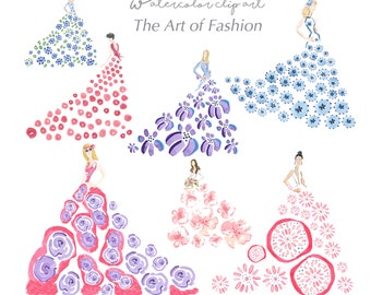 Art of Fashion Clip Art Collection  - Watercolor Clip Art  - Fashion Clip Art - Flower Clip Art  - Scrapbooking  - DIY Crafts - Printable