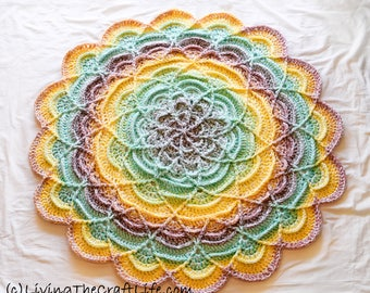 Multi-Colored Crochet Round Flower Ripple Blanket - Baby Blanket, Lap Blanket, Decor - READY TO SHIP!!