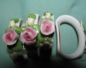 Vintage AK  Kaiser Fine Bisque  Napking  Rings  set of 4 Cottage Chic - Pink Roses