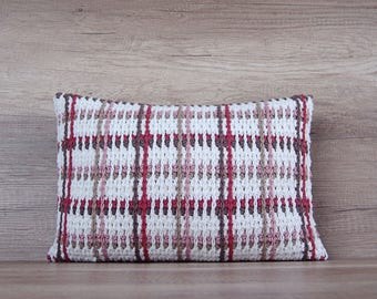 Pink check crochet pillow sham, rectangle decorative pillowcase, cool white coffee red pink beige sofa pillows  13 x 18 inch  ( 32 x 45 cm)