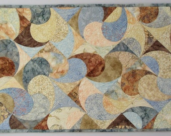 Art Quilt Pastel Curves, Wall Quilt, Quilted Wall Hanging, Abstract quilt