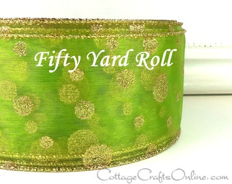 "Christmas Wired Ribbon 2 1/2"",  Lime Green Sheer Gold Glitter Polka Dots - FIFTY YARD ROLL - ""Lime Polka Dot"" Wire Edged Ribbon"