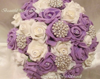 Wedding Flowers wedding Bouquet Brides 8 inch Posy Lilac and Ivory Brooch Bouquet Pearl Crystals Diamanties satin ribbon Bouquet