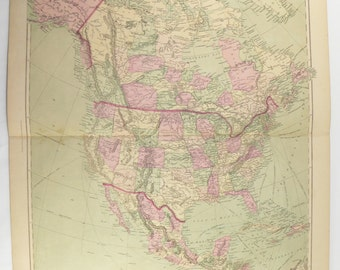 1873 north america map united states mexico map canada central america map large antique