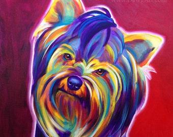 Yorkshire Terrier, Pet Portrait, DawgArt, Dog Art, Yorkie Art, Pet Portrait Artist, Colorful Pet Portrait, Yorkshire Terrier Art, Art Prints
