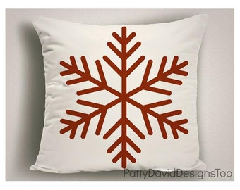 Red and White Snowflake Christmas Pillow, Christmas Snowflake Decor, Christmas decorations Snowflakes Holiday Pillows Covers