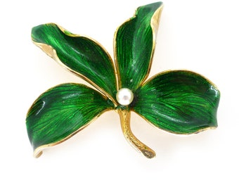 Vintage 1960s Grosse Green Enamel Lilly Flower Brooch