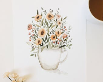 Cup of flowers // art print - coffee lover - wall art - kitchen - coffee bar - floral - poppies