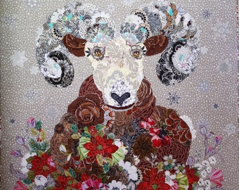 Collage QUILT of IZAAK Rocky Mountain Bighorn Sheep Quilted Wallhanging Home Decor Christmas Snow Wildlife