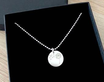 Short necklace Sterling Silver 925 medal round flower engraved