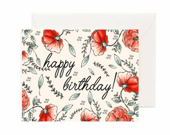 Happy Birthday Poppies Card