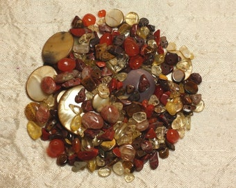 Lot of semi-precious stone beads, amber, mother of Pearl 4-20mm 4558550016126