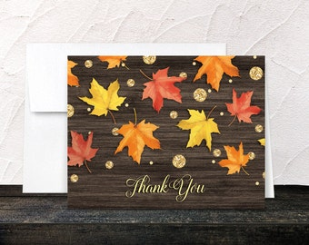 Autumn Thank You Cards - Rustic Falling Leaves with Gold - Gold Glitter design Fall Thank You Cards - Printed