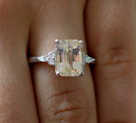 Engagement Ring White gold engagement ring Champagne Sapphire ring Campari ring cushion White gold diamond ring 5.2ct ring Eidelprecious