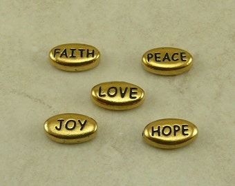 5 TierraCast Word Beads Mix Pack > Love Peace Joy Hope Faith - 22kt Gold Plated LEAD FREE Pewter - I ship Internationally a3