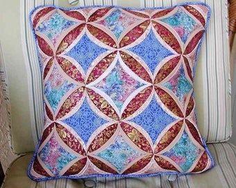 "Quilted Cathedral Window Pillow, 18"" square, Blue, White and pale coral wuth gold accents, Asian-inspired fabrics"
