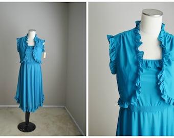Vintage 70s aqua blue summer sleeveless feminine  strapless summer dress dance club twirly dress with jacket // womens small -NOS