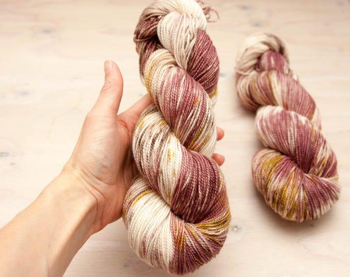Hand dyed yarn, Superwash wool, nylon yarn, sock yarn, hand dyed sock yarn, speckled yarn, merino, mauve yarn, tan yarn, nylon sock yarn