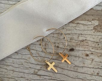 Cross/star dangle hoop earrings