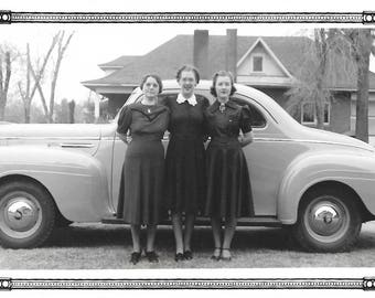 "Vintage Snapshot ""Ready To Roll"" Women Pose In Front Of Cadillac 1939 Found Vernacular Photo"