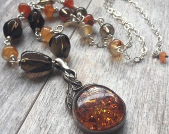 Vintage Baltic Amber Necklace Multi Gemstone Necklace Sterling Silver Necklace Autumnal Necklace One of a Kind Statement