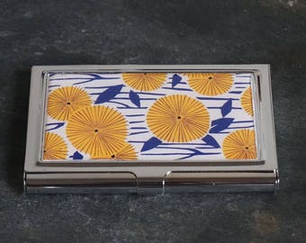Platinum Metal Business Card Case, Cigarette Case, Credit Card Case, Business Card Holder, Floral Flowers Yellow Flowers on Blue