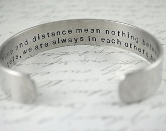 Time and Distance Mean Nothing Between Sisters Secret Message Hand Stamped Bracelet- Personalized Bracelet