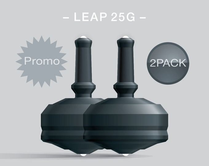 Leap 25G 2Pack Black-Black – Value-priced set of spin tops with dual ceramic tip and rubber grip