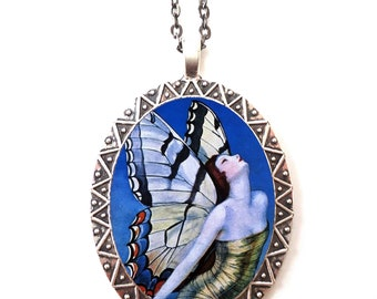 Flapper Butterfly Necklace Pendant Silver Tone - Art Deco 1920's Jazz Age Butterflies Whimsical