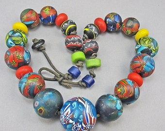 Vintage Millefiori Beads Necklace Statement Necklace Multi Floral Jewelry Big Beads Vintage Beaded Necklace Vintage Jewellery