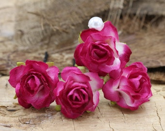 Pink Roses Hairpin, Mulberry Paper Flower Hair Pins , Bridal Hair Pins, Hair Bobby Pins,Prom,Bridal Hair Accessories (FL351)